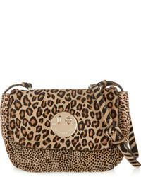 Bolso bandolera de ante de leopardo marrón claro de Hill & Friends