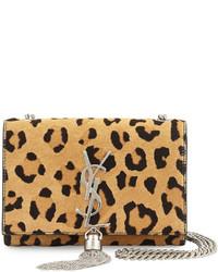 Bolso bandolera de ante de leopardo marrón claro de Saint Laurent