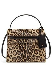 Bolso bandolera de ante de leopardo marrón de Valentino