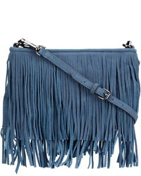 Bolso bandolera de ante сon flecos azul de Rebecca Minkoff