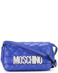 Bolso bandolera de cuero acolchado azul de Moschino