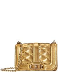 Bolso bandolera de cuero acolchado dorado