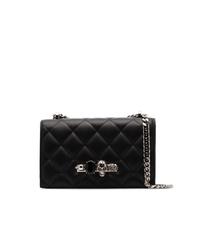 Bolso bandolera de cuero acolchado negro de Alexander McQueen