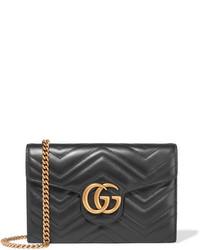 Bolso Bandolera de Cuero Acolchado Negro de Gucci