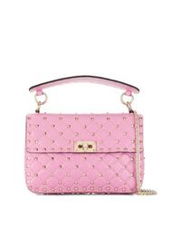 Bolso bandolera de cuero acolchado rosado de Valentino