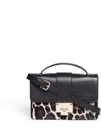 Bolso bandolera de cuero de leopardo en negro y blanco