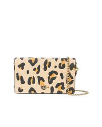 Bolso bandolera de cuero de leopardo marrón claro de Coach