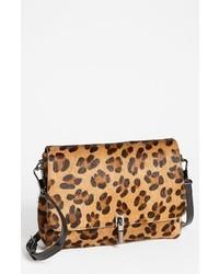 Bolso bandolera de cuero de leopardo marrón claro de Elizabeth and James