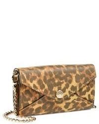 Bolso bandolera de cuero de leopardo marrón claro de Rebecca Minkoff