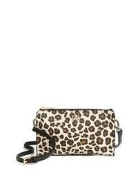 Bolso bandolera de cuero de leopardo marrón claro de Tory Burch