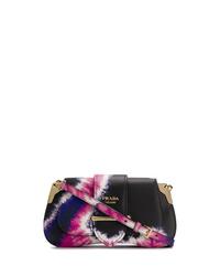Bolso bandolera de cuero efecto teñido anudado negro de Prada