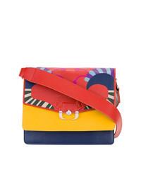 Bolso bandolera de cuero en multicolor