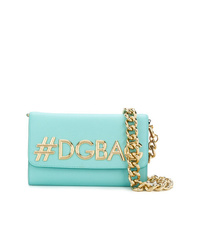 Bolso bandolera de cuero en turquesa de Dolce & Gabbana
