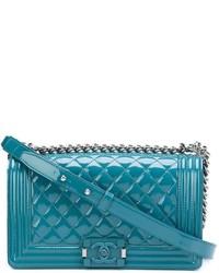 Bolso bandolera de cuero en verde azulado de Chanel