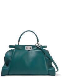 Bolso bandolera de cuero en verde azulado de Fendi