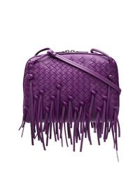 Bolso bandolera de cuero en violeta de Bottega Veneta
