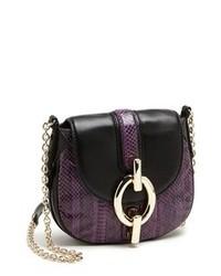 Bolso bandolera de cuero en violeta de Diane von Furstenberg
