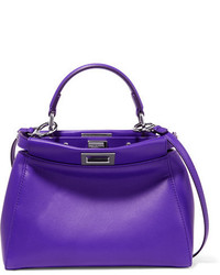 Bolso bandolera de cuero en violeta de Fendi