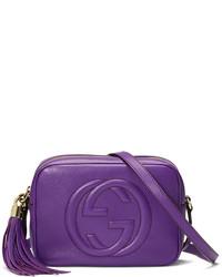 Bolso bandolera de cuero en violeta de Gucci