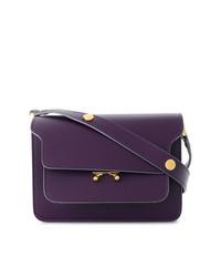 Bolso bandolera de cuero en violeta de Marni