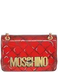 Bolso bandolera de cuero estampado rojo de Moschino