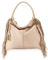 Bolso bandolera de cuero сon flecos en beige de Badgley Mischka