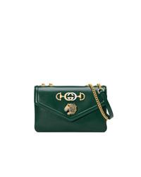 Bolso bandolera de cuero verde oscuro de Gucci