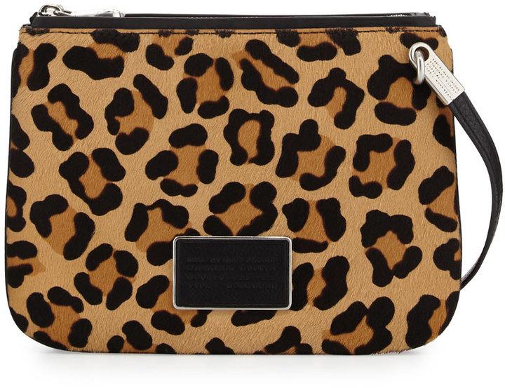 lista nueva tiendas populares calidad superior $348, Bolso bandolera de pelo de becerro de leopardo en negro y marrón  claro de Marc by Marc Jacobs