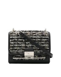 Bolso bandolera de tweed negro de Karl Lagerfeld