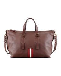 Bolso baúl de cuero en marrón oscuro de Bally