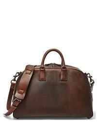 Bolso baúl de cuero en marrón oscuro de Fossil