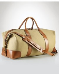 Bolso baúl de lona marrón claro