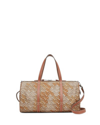 Bolso baúl de lona marrón claro de Burberry