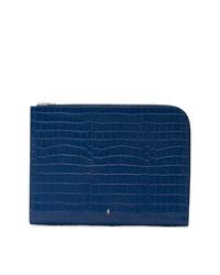 Bolso con cremallera de cuero azul marino de Alexander McQueen