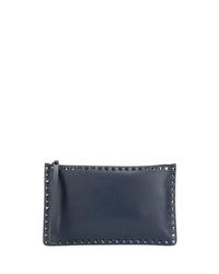 Bolso con cremallera de cuero azul marino de Valentino