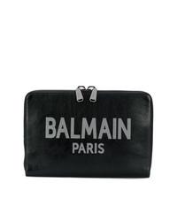 Bolso con cremallera de cuero estampado negro de Balmain