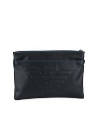 Bolso con cremallera de cuero negro de Emporio Armani