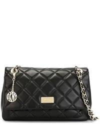 Bolso de hombre de cuero acolchado negro de DKNY