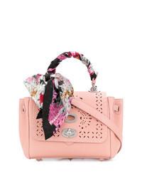 Bolso de hombre de cuero con adornos rosado