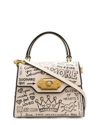 Bolso de hombre de cuero en blanco y negro de Dolce & Gabbana