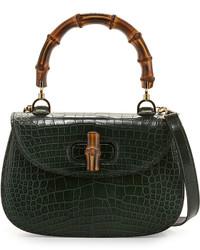 Bolso de hombre de cuero verde oscuro de Gucci