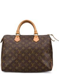 Bolso deportivo de cuero estampado en marrón oscuro de Louis Vuitton