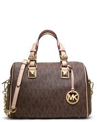 Bolso deportivo de cuero estampado en marrón oscuro de MICHAEL Michael Kors