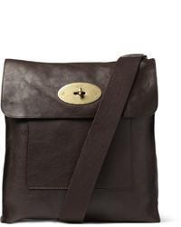 Bolso mensajero de cuero en marrón oscuro de Mulberry