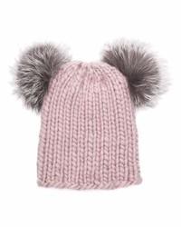 Bonnet en fourrure en tricot rose Eugenia Kim