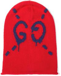 Bonnet imprimé rouge Gucci