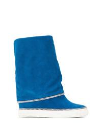 Botas a media pierna de ante azules de Casadei