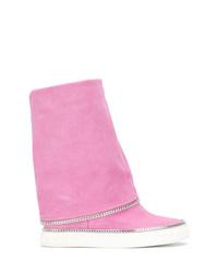 Botas a media pierna de ante rosadas de Casadei
