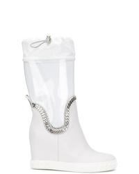 Botas a media pierna de cuero blancas de Casadei