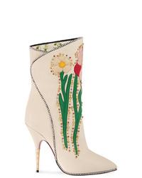 Botas a media pierna de cuero blancas de Gucci